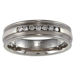 Men's Titanium and Silver Channel 1/4ct TDW Diamond Ring