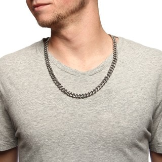 Stainless Steel 9.5mm Curb Link Necklace (24-inch)