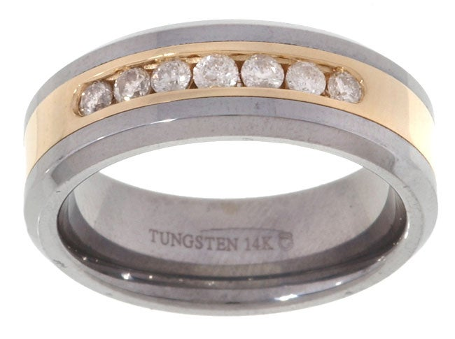 Tungsten/ 14k Gold Channel 1/2ct TDW Diamond Band - White - Thumbnail 0