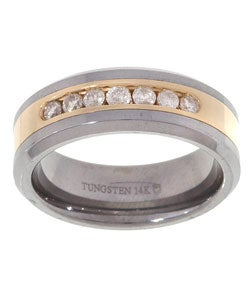 Tungsten/ 14k Gold Channel 1/2ct TDW Diamond Band - White