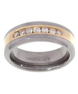 Tungsten/ 14k Gold Channel 1/2ct TDW Diamond Band - White