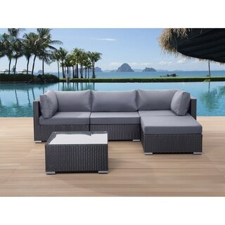 Beliani Sano Black Wicker with Cushions Patio Conversation Set