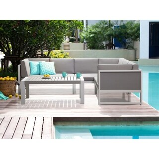 Beliani Vinci White/ Grey Aluminum Patio Lounge Set