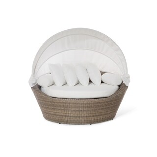 Beliani Light Brown Outdoor Wicker Patio Daybed