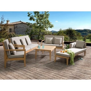 Beliani Pataja Brown/Grey Acacia Wood 5-piece Patio Conversation Set With Lounger
