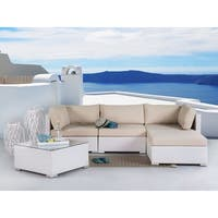 Beliani Sano White Wicker Patio Conversation Set with Cushions