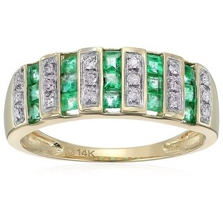 14k Yellow Gold Emerald, Diamond Wedding Band Ring, Size 7