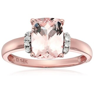 14k Rose Gold Morganite, Diamond Solitaire Engagement Ring, Size 7 - Pink