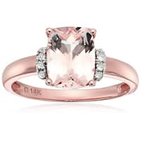 14k Rose Gold Morganite, Diamond Solitaire Engagement Ring, Size 7 - Pink