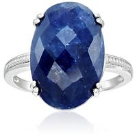 Sterling Silver Opaque Blue Sapphire Solitaire Engagement Ring, Size 7