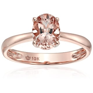10k Rose Gold Morganite Oval Solitaire Engagement Ring, Size 7 - Pink
