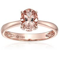Pinctore 10k Rose Gold Morganite Oval Solitaire Engagement Ring, Size 7 - Pink