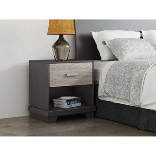 Homestar Soho Nightstand with 1 drawer in Java Brown/Sonoma Finish