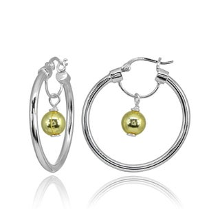 Mondevio High Polished Dangling Bead Hoop Earrings in Sterling Silver (Option: Two-Tone)
