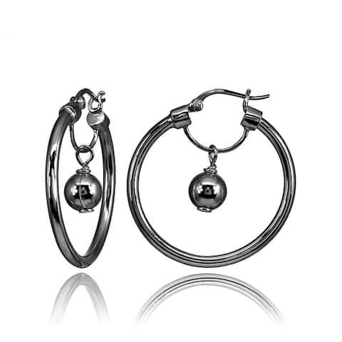 Mondevio High Polished Dangling Bead Hoop Earrings in Sterling Silver