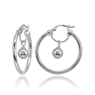 Mondevio High Polished Dangling Bead Hoop Earrings in Sterling Silver|https://ak1.ostkcdn.com/images/products/18652690/P24747863.jpg?impolicy=medium