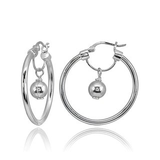 Mondevio High Polished Dangling Bead Hoop Earrings in Sterling Silver