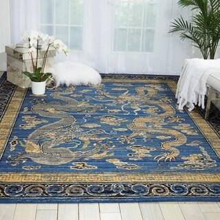 Barclay Butera for Nourison Dynasty Collection Emperors Azure Blue/Yellow Wool Oriental Area Rug (7'9 x 9'9)