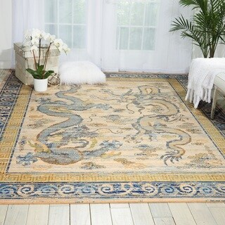 Nourison Barclay Butera Dynasty 'Emperors' Ivory/Blue/Gold Wool Area Rug (8'6 x 11'6 )