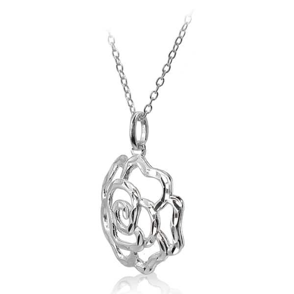 Silver Leaf Pattern Pendant Silver Leaf Pendant 1 Silver Flower Medallion