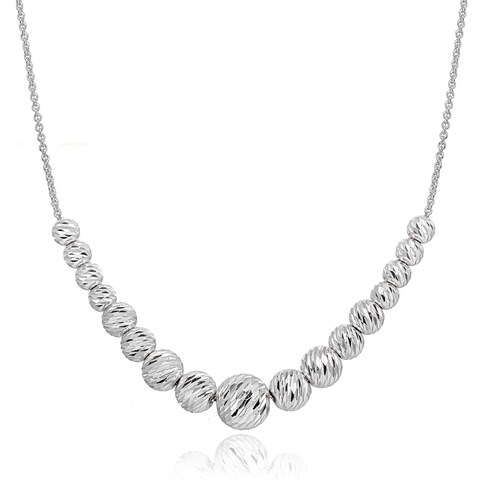 Mondevio Diamond-Cut Sliding Graduated Beads Necklace in Sterling Silver