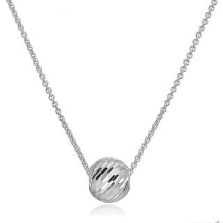 Mondevio 8mm Dainty Diamond Cut Sliding Bead Necklace In Sterling Silver