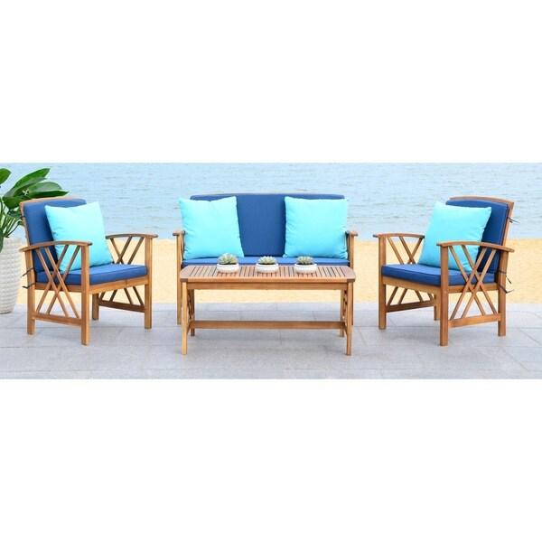 shop safavieh fontana navy 4 piece outdoor set with accent pillows