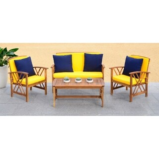 Safavieh Fontana Teak-colored/ Yellow 4-Piece Outdoor Set With Accent Pillows
