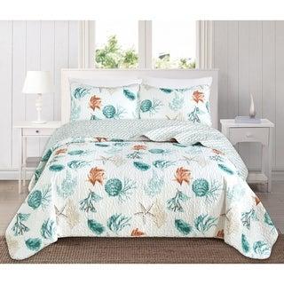 key west reversible 3 piece coastal quilt set by home fashion designs