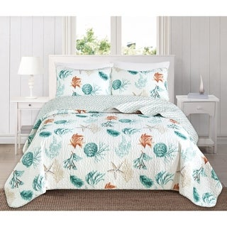 Key West Reversible 3-piece Coastal Quilt Set by Home Fashion Designs