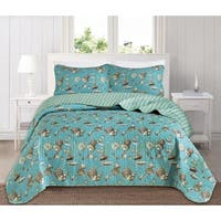 Seychelles Reversible 3 Piece Coastal Quilt Set by Great Bay Home