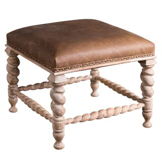 Chauncey Brown Wood and Leather Handmade Low Stool