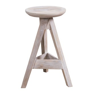 "CG Sparks Barrow Indian Handmade White Wooden 27"" Counter Stool (India)"