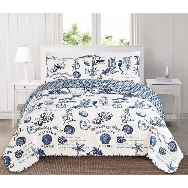 Catalina Reversible 3 Piece Coastal Quilt Set by Great Bay Home