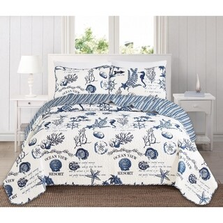 Catalina Reversible 3-piece Coastal Quilt Set by Home Fashion Designs