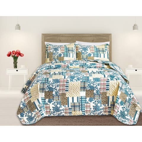 Blue Hill Reversible 3 Piece Printed Quilt Set By Great Bay Home