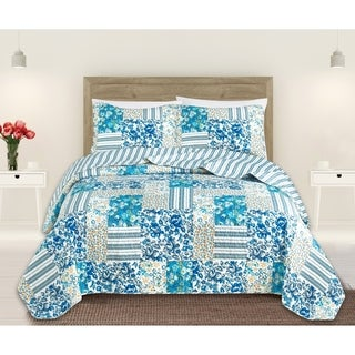 madelyn reversible 3 piece printed quilt set by home fashion designs