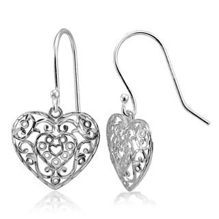 Mondevio High Polished Diamond-cut Filigree Heart Dangle Earrings in Sterling Silver