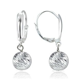 Mondevio 8mm Diamond-Cut Beads Dangle Leverback Earrings in Sterling Silver