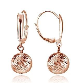 Mondevio 10mm Diamond-Cut Beads Dangle Leverback Earrings in Sterling Silver
