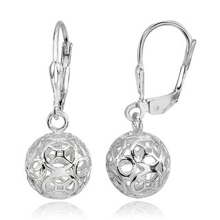 Mondevio Polished Filigree Hollow Ball Dangle Leverback Earrings in Sterling Silver