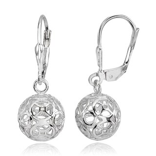 Mondevio Polished Filigree Hollow Ball Dangle Leverback Earrings in Sterling Silver (Option: Yellow)