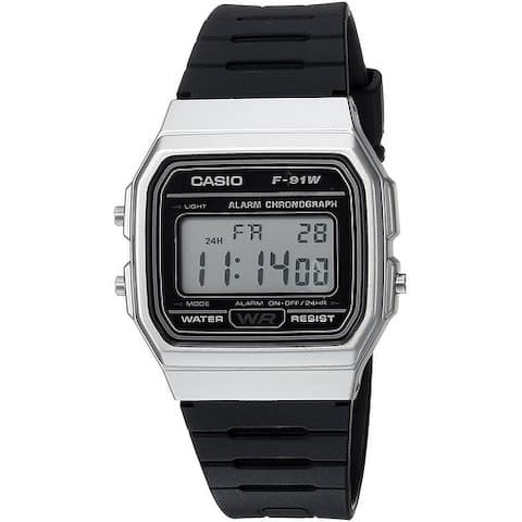 Casio Men's Digital Stopwatch Stainless Steel Resin Watch