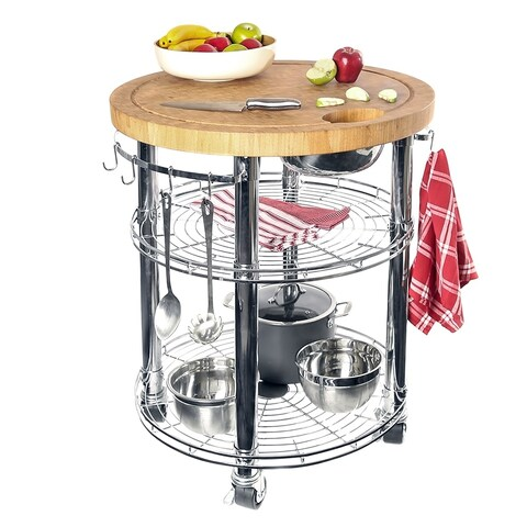 Seville Classics Solid Bamboo Professional Kitchen Cart Food Prep Table