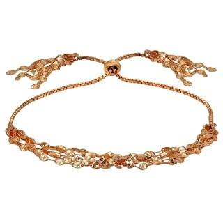 Mondevio Flat Fashion-Link Chain Layered Tassel Adjustable Bolo Bracelet in Sterling Silver (Option: Rose)