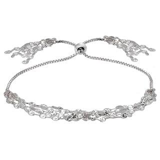 Mondevio Flat Fashion-Link Chain Layered Tassel Adjustable Bolo Bracelet in Sterling Silver