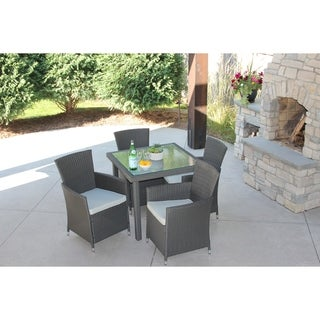 5 Piece Gray Wicker Outdoor Dining Set With Square Wicker Table With Recessed Glass