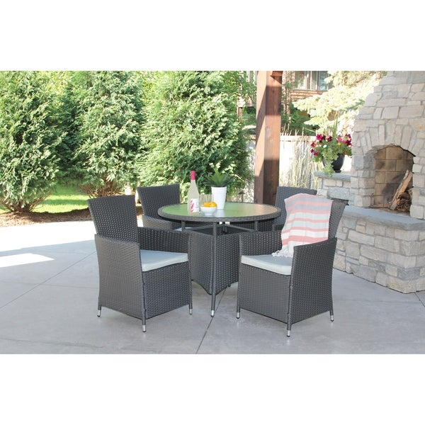 5 Piece Gray Wicker Outdoor Dining Set With Round Recessed Glass Table
