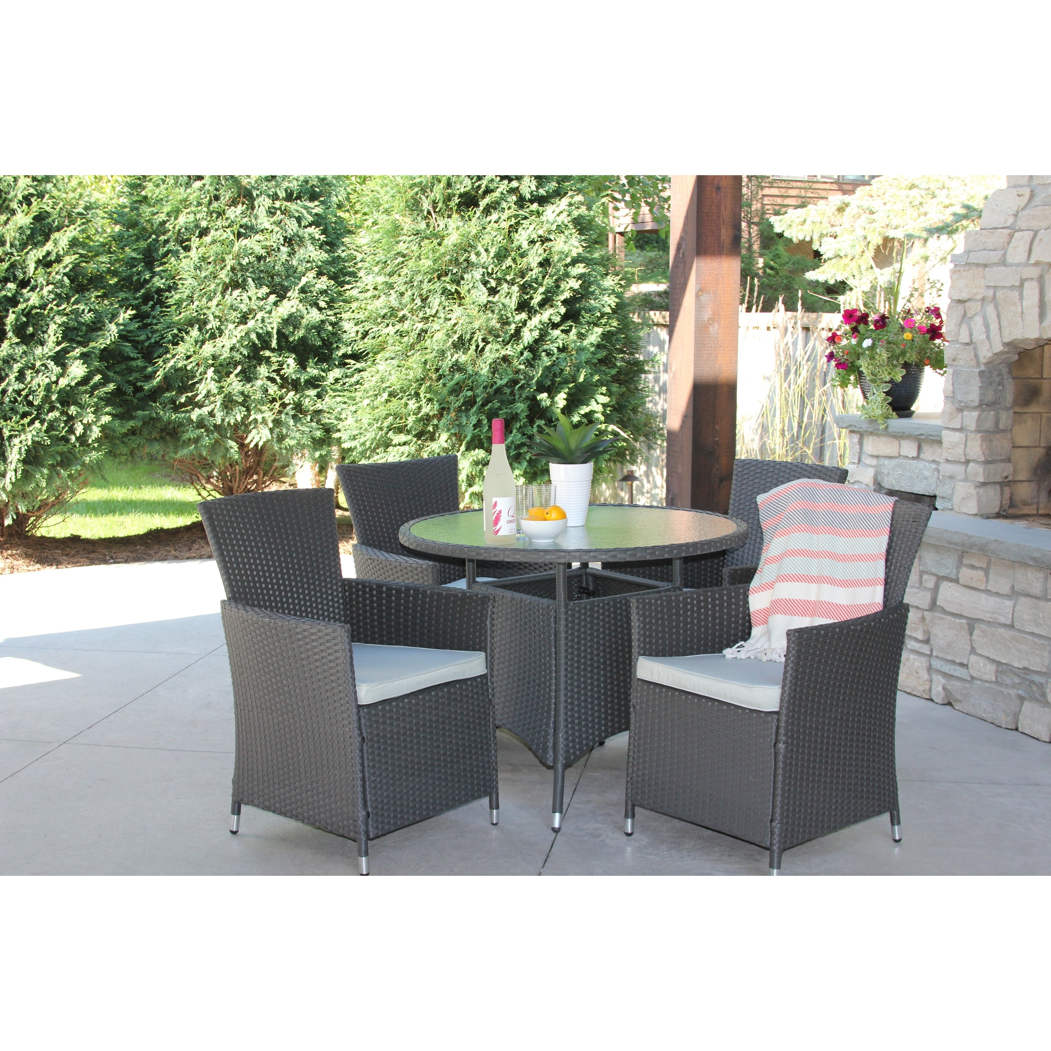 Gray Wicker 5 Piece Outdoor Dining Set With Round Recessed Glass Table Overstock 18653104