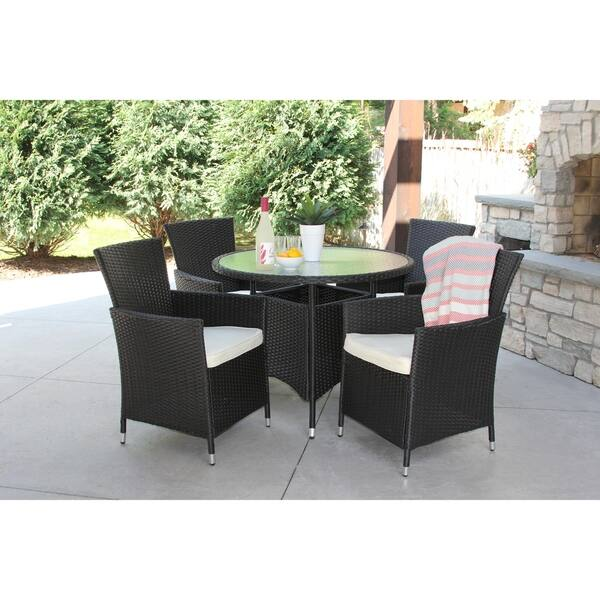 5 Piece Black Wicker Outdoor Dining Set With Round Recessed Glass Table Overstock 18653108